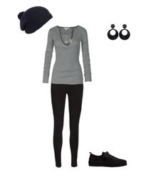 This outfit will do quite nicely for a girls night out or date night!! Find black skinny jeans, grey long sleeved shirt, black beanie, black dangle earring, and black vans, and got get your party on, girl!!!