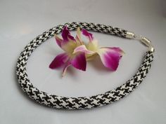 Bead crochet necklace with classicl black and by MilenasBoutique, $94.00