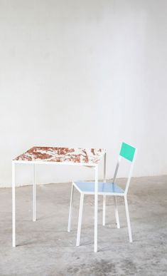 marble and steel table by fien muller and hannes van severen