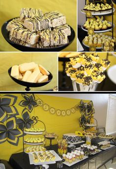 Black And Yellow Party Decorations Black White Yellow 60th