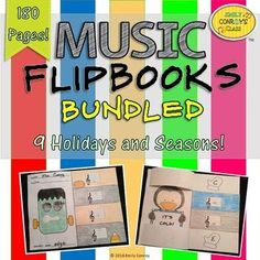 Music Flipbooks comes with 9 holidays and seasons. Such a cute craftivity to help students remember the lines and spaces on the staff!