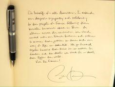 Le message d'#Obama laissé sur le livre de condoléances de l'ambassade française de Washington #JeSuisCharlie