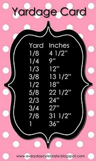 Fabric yards to inches measurement card