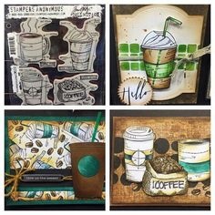 Coffee! Love these great Tim Holtz blue print coffee stamps!