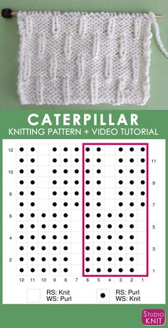 How to Knit the Caterpillar Knit Stitch Pattern Super helpful! Knitting Chart of Caterpillar Knit Stitch Pattern Chart with Video Tutorial by Studio Knit Knitting Stiches, Knitting Blogs, Knitting Kits, Circular Knitting Needles, Knitting Charts, Easy Knitting, Knitting For Beginners, Loom Knitting, Knitting Designs