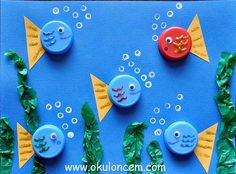 Bottle Cap Fish Use old bottle caps or milk caps to make an adorable ocean scene. Its a fun way to create using materials that might otherwise be thrown away. The post Bottle Cap Fish was featured on Fun Family Crafts. Kids Crafts, Animal Crafts For Kids, Family Crafts, Summer Crafts, Diy For Kids, Arts And Crafts, Beach Crafts For Kids, Button Crafts For Kids, Quick Crafts