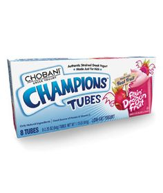A decent packaged protein snack.  Handy for carpool line.  Chobani Champions Flyin' Dragon Fruit Tubes
