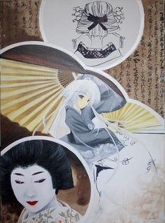 2 worlds in Japan, traditional geisha and geisha in manga  oil painting 73x100 cm  1750€