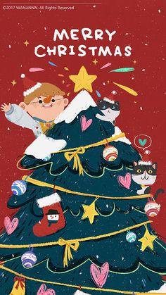 New Year Illustration, Cute Illustration, Illustrations, Christmas Illustration Design, Merry Christmas Poster, Merry Little Christmas, Merry Chistmas, Christmas Design, Christmas Art