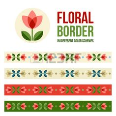 Design elements flower and floral ornamented borders in different colors Scandinavian minimal folk s Stock Vector