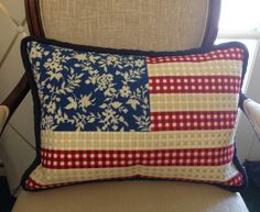 Floral Stars & Stripes Needlepoint Pillow by Kirk & Bradley