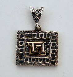 JUDAICA STERLING SILVER AND 14K GOLD MASADA PENDANT JEWELRY HANDMADE ISRAEL RARE