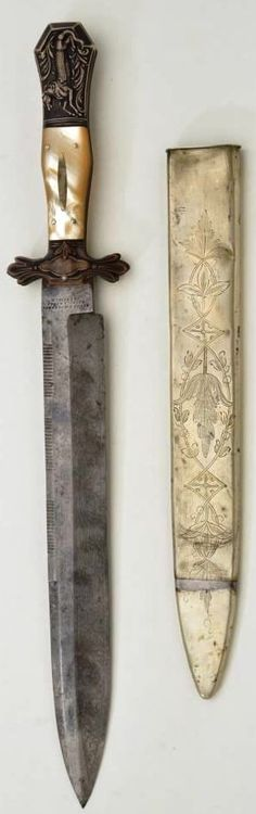 """Massive spear point Bowie knife made by Henry Booth and Co. Norfolk Works, Sheffield measuring 18"""" overall with 12"""" blade. This fine knife shows the ultra-desirable original half horse, half alligator pommel, pearl grip scales and etched blade with legend, """"For Self-Defense"""""""