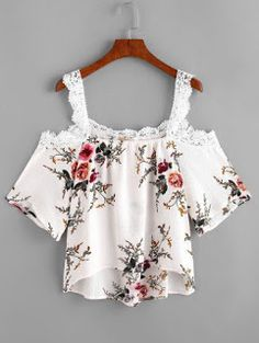 Feitong Off Shoulder Floral Blouse Crop Tops Women Summer Casual Strap Spaghetti Lace Top Shirt Blusas feminino Floral Tops, Floral Blouse, Floral Lace, Printed Blouse, Round Collar Shirt, Summer Crop Tops, Elegant, Casual Tops, Casual Wear