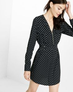 Long Sleeve Zip Front Shirt Dress Polka Dot Women's X Small Casual Work Outfits, Work Casual, Dress Shirts For Women, Business Dresses, Lace Dress, One Piece, Shirt Dress, Zip, My Style