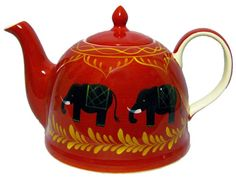 Benares teapot ... black elephants circling red dome shape body, with gold leaves garland and highlights in shape of Indian pointed arches, ceramic