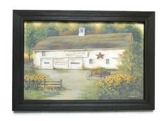 Calebs Sunflower Farm ... primitive country home decor . barn picture and handmade wood frame  . wall hanging . framed print . Made in USA