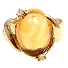 CHANEL Yellow Gold Large Citrine & Diamond RIng by Chanel. With one oval citrine: x And 2 Round Brilliant Cut Diamonds, Total Diamond Weight: Chanel Jewelry, Chanel Ring, Coco Chanel, Gold Link Bracelet, Mellow Yellow, Antique Rings, Yellow Gold Rings, Diamond Rings, Oval Diamond