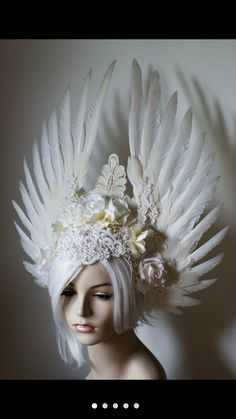 White Angelic Bride Headdress - white wings, roses, and wedding lace, bridal… Festival Gear, Festival Costumes, Festival Outfits, Diy Festival, Lace Weddings, Wedding Lace, Fancy Makeup, Flower Headdress, Festival Accessories