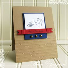This card, using Woodware USA's Garden Greeting's stamp set was created for a masculine card challenge.