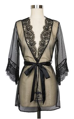 Cover up without hiding your gorgeous lingerie! The Idalia Robe from L'Agent is comprised of sheer black tulle, bordered at the neckline and sleeve with intricate lace work.