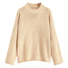 Loose Rolled Cuff Pullover Sweater Khaki ($22) ❤ liked on Polyvore featuring tops, sweaters, khaki sweater, pullover top, beige top, loose fit tops and loose fitting tops