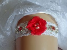 Wedding Garter Ideas, Red Jeweled Lace Wedding Garter, Bridal Garter, Bridal Lingerie, Ruby Garder, Bridal Accessories by bridalambrosia on Etsy