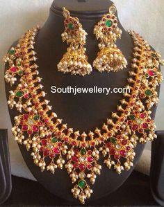 Guttapusalu Haram and Jhumkas Set - Indian Jewellery Designs Kids Gold Jewellery, Indian Jewellery Design, India Jewelry, Latest Jewellery, Gold Jewelry, Beaded Jewelry, Jewelry Design, Designer Jewellery, Antique Jewellery