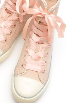 Pink | Pastel | Rosé | Salmon | Peach | Blush | Pinku | Rozovyy | Rosa | ピンク | розовый | Rosado | Light pink Converse with ribbon laces