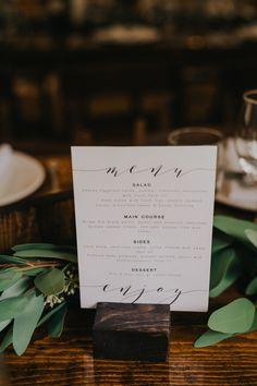 Simple elegant menu signage at this British Columbia wedding reception Wedding Reception Image, Wedding Menu, Wedding Reception Decorations, Wedding Programs, Wedding Centerpieces, Diy Wedding, Wedding Planning, Dream Wedding, Wedding Ideas