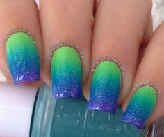 Green to blue fading nails