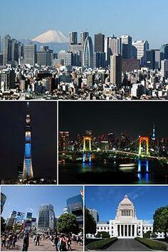 Clockwise from top: Nishi-Shinjuku, Rainbow Bridge, National Diet Building, Shibuya, Tokyo Skytree   Japan