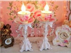 Shabby chic teacup candles