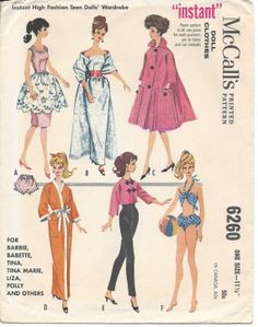 "1961 Original McCalls 6260 Sewing Pattern for 11-1/2"" Fashion Dolls Barbie"