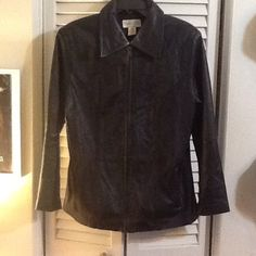 Real Black Leather Jacket Casual Corner Sz. L 2 front side pockets. Hanging hook behind tags. In near perfect condition: on inside of collar, there are signs of fading, probably from when I wore heavy makeup & it used to rub off. Make offer. Casual corner Jackets & Coats