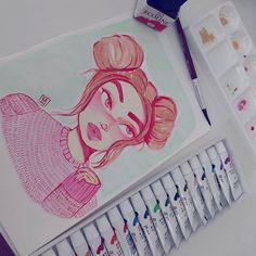 Estou em uma vibe que estou usando bastante rosa nos meus desenhos, sem nenhum motivo aparente. Usando vermelho para fazer a line art e estou gostando do resultado. Espero que vocês também❤🐞 _ _ _ #draw #drawings #sketch #watercolor #sakura #ecoline #aquarela #desenho #doodles #doodle #art #illustration #ilustração #girldrawing #girl