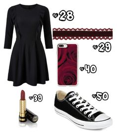 """Maroon & Black"" by sadsmith ❤ liked on Polyvore featuring Miss Selfridge, Converse, Gucci and Casetify"
