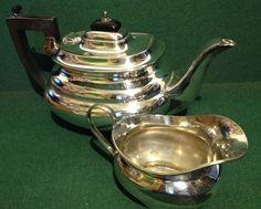 Antique Silverplated Teapot & Milk Jug - Made In England EPNS - Downton… Pot Sets, Milk Jug, Teapot, Antique Silver, Silver Plate, England, Coffee, Antiques, Ebay