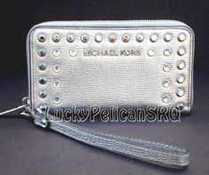 Michael Kors Jeweled Metallic Leather Phone Large Case Wristlet Wallet NWT #MichaelKors #Wristletphonecase