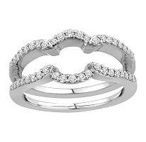 T W 14k White Gold Insert Band With Brilliant Diamonds In Microg Set H I I1