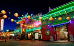 Chinatown, Los Angeles, at night.