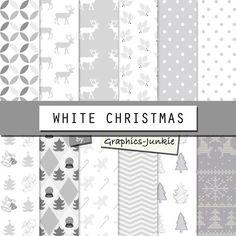 "Christmas Digital Paper: ""CHRISTMAS PATTERN"" - Christmas Backgrounds, Christmas Paper, White"