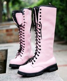 Pink knee high combat Boots. Dream shoes.