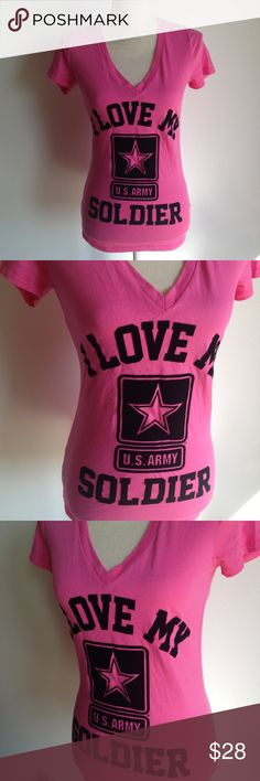 Victoria's Secret Pink I Love My Soldier Army t PINK I love my solider U.S. ARMY v-neck shirt. Excellent pre-owned condition. Pink t-shirt with black velvety print. PINK Victoria's Secret Tops Tees - Short Sleeve