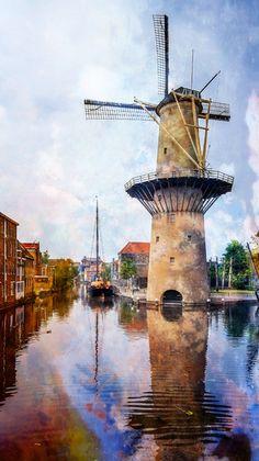 Nieuw in mijn Werk aan de Muur shop: Molen in #Schiedam