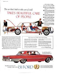1961 Ford Galaxie Club Victoria-Classic Looks-Original * Magazine Ad - tessa Pub Vintage, Ford Vintage, Best Muscle Cars, Ford Classic Cars, Ford Galaxie, Car Advertising, Henry Ford, Old Ads, Magazine Ads