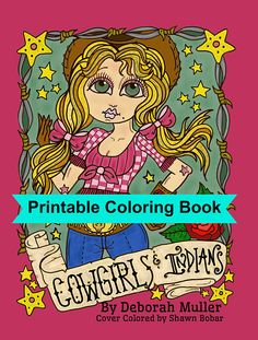 Digital Coloring Book Downloadable Cowgirls And Indians Pages Digi Stamps Cardmaking Clip