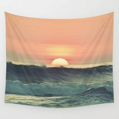Ocean sunsetOcean Wall TapestryWall Decorocean artphoto   Etsy Photo Tapestry, Tapestry Nature, Blue Tapestry, Tapestry Bedroom, Tapestry Wall Hanging, Tapestry Beach, Bedroom Art, Wall Hangings, Bedroom Ideas