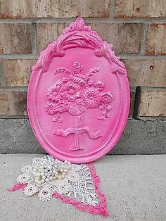 Upcycled  HoT PiNk PoP  Embossed Iron  by TimelessNchic on Etsy, $19.95 #pink #cottage #chic #walldecor #floral