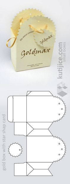 OK - Impression Gold box with star shape card (die cut form): Diy Gift Box, Diy Box, Diy Gifts, Diy And Crafts, Paper Crafts, Box Patterns, Gift Packaging, Gold Box, Box Design
